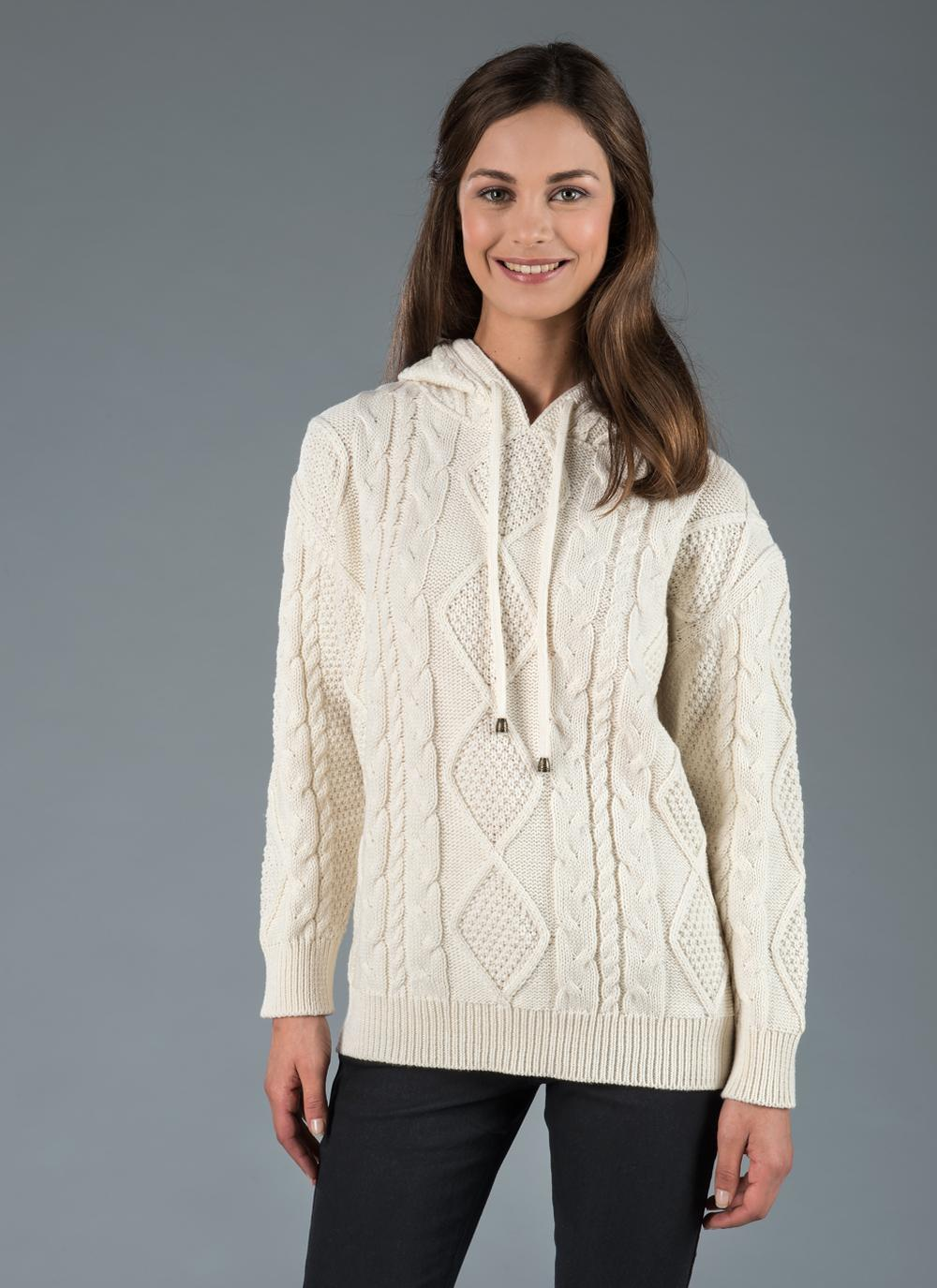 Aine_Hoody_Natural_ Aran Jumper Floralesque Gift Guide
