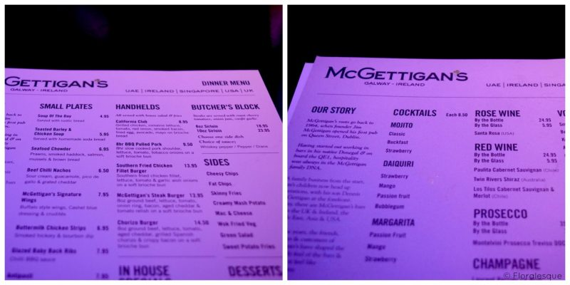 McGettigans New Food & Cocktail Menu