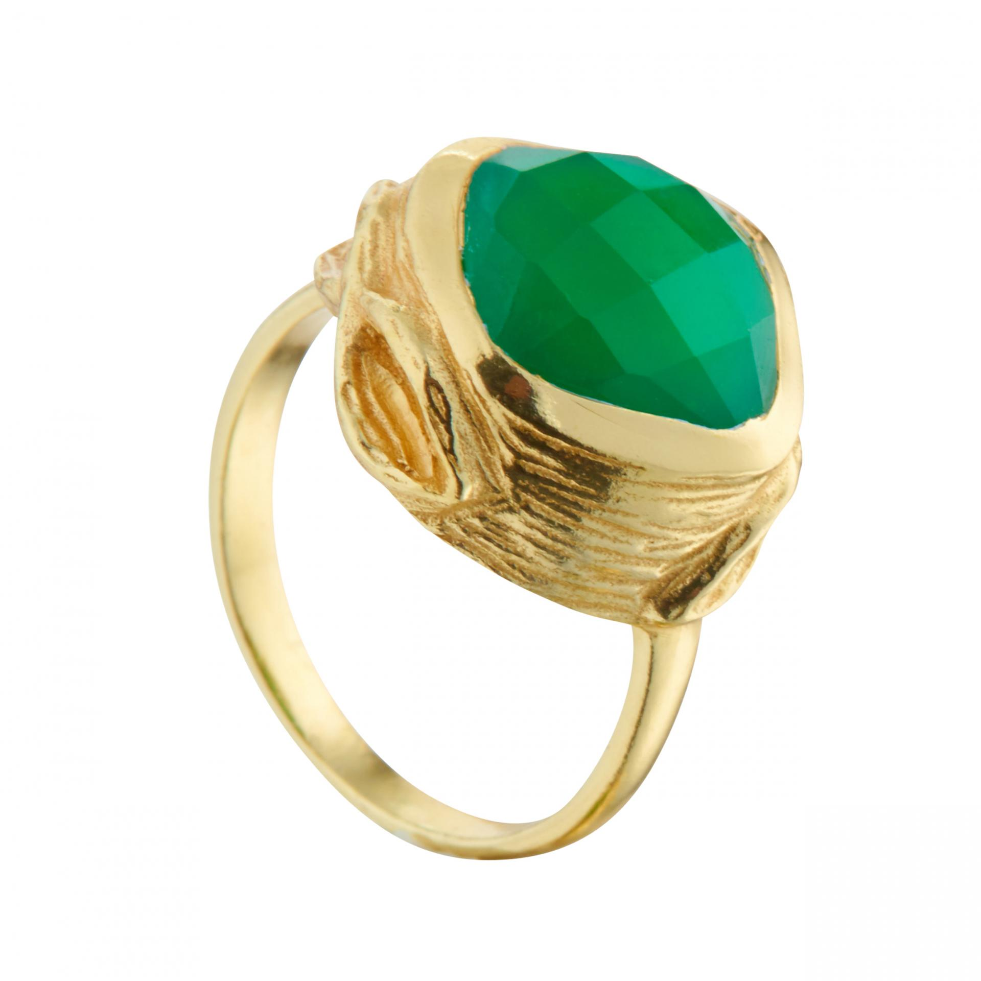 Juvi Designs  Oyster Ring in Gold Vermeil and Green Onyx