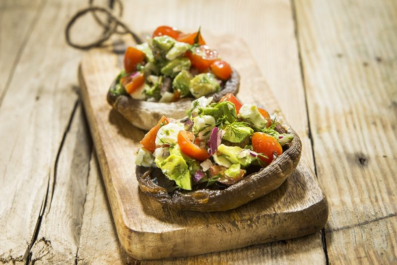 Recipe - Strong Roots Avocado and Feta Loaded Mushrooms