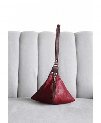 Ana Faye PYRAMID BAG IN BURGUNDY AND BROWN