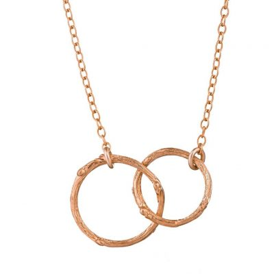 CHUPI HAWTHORN TWIG INFINITY DOUBLE CIRCLE NECKLACE IN ROSE GOLD