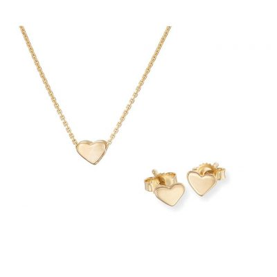 SOLID GOLD YOU ARE MY HEART NECKLACE AND EARRINGS GIFT SET