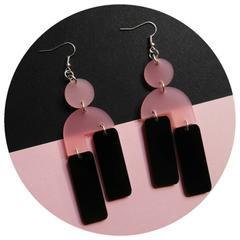 Capulet & Montague Frosted Rose and high shine sable Acrylic drop earrings