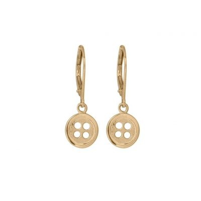 Edge Only Button Drop Earrings in 14ct Gold