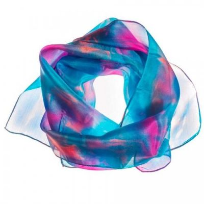 Hazel Greene Hand Painted Scarf Abstract Turquoise