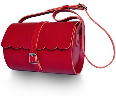 Lovern Leather Goods – Red Scallop barrel bag