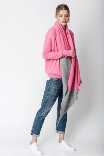 Lucy Nagle THE DRAPED SCARF IN BUBBLEGUM & ELEPHANT
