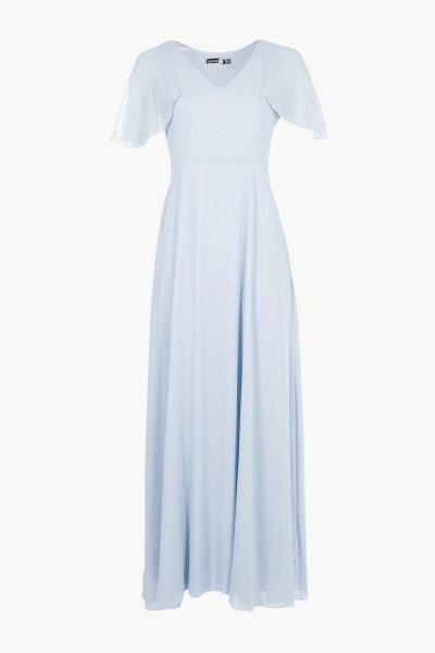 BOOHOO Hollie Chiffon Cape Detail Maxi Dress