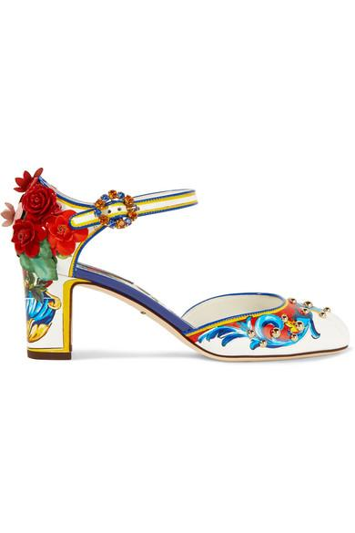 DOLCE & GABBANA Embellished printed leather Mary Jane pumps
