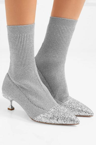 MIU MIU Glittered metallic ribbed-knit sock boots