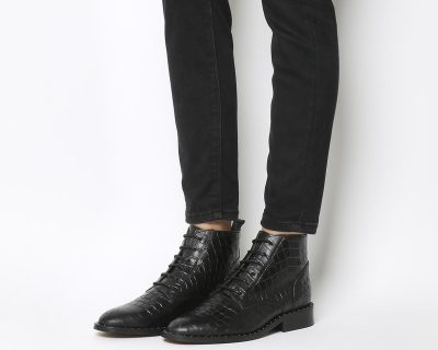 Office Artful Lace Up Boots With Studs Black Croc Leather Silver Studs