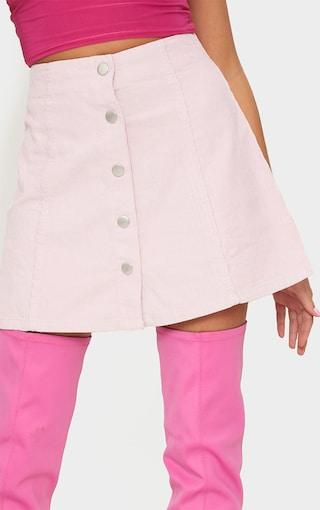 Pretty Little Thing BABY PINK A-LINE CORD MINI SKIRT