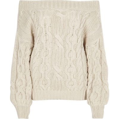River Island Cream cable knit bardot jumper