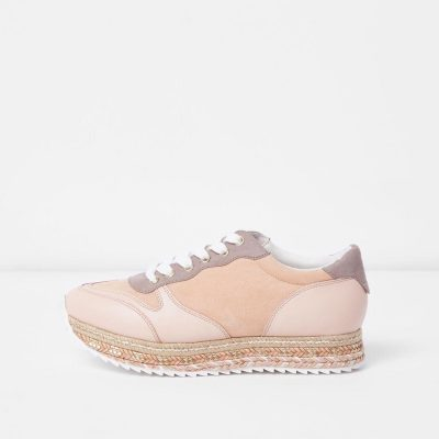 River Island Pink espadrille lace-up runner trainers