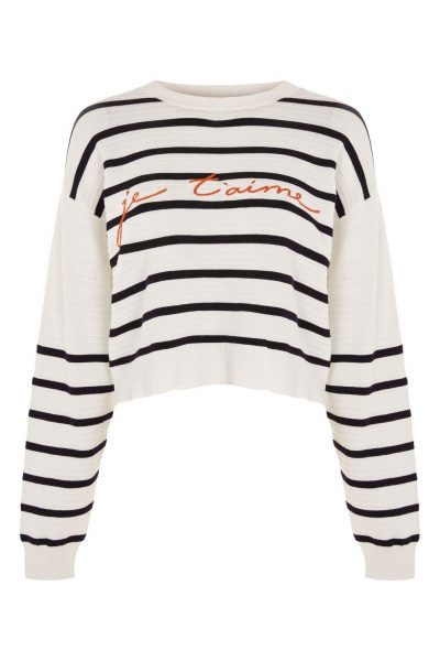 Topshop 'Je T'aime' Striped Jumper