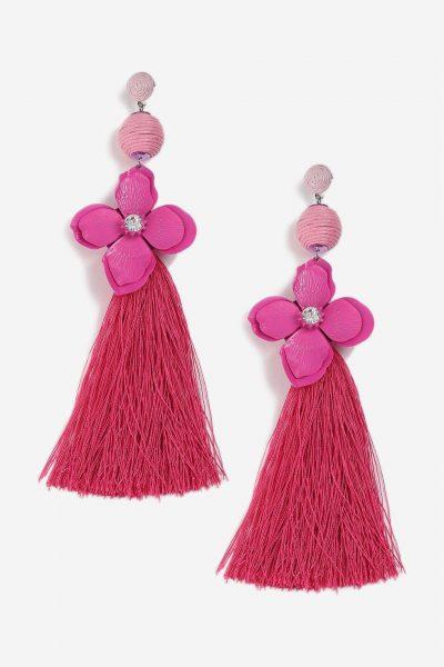 Topshop Rhinestone Flower and Tassel Earrings