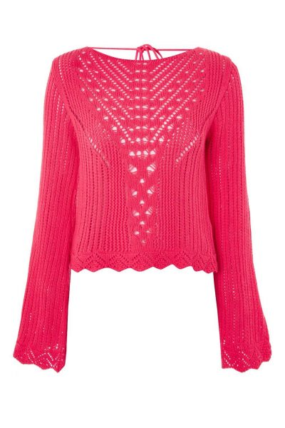 Topshop Stitchy Tie Back Flute Sleeve Top
