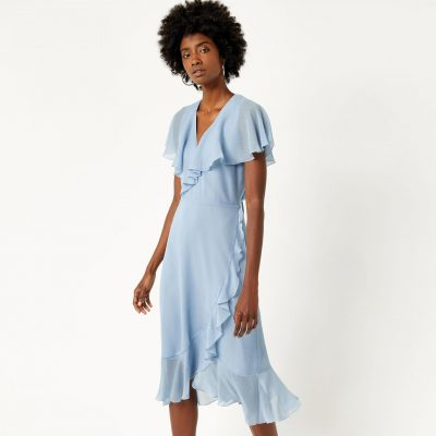 Warehouse SOFT RUFFLE MIDI DRESS