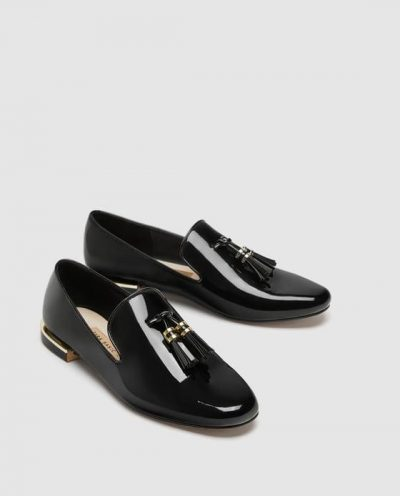 ZARA FAUX PATENT LEATHER TASSEL LOAFERS