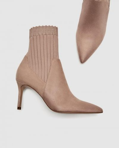 ZARA HIGH HEEL SOCK-STYLE ANKLE BOOTS
