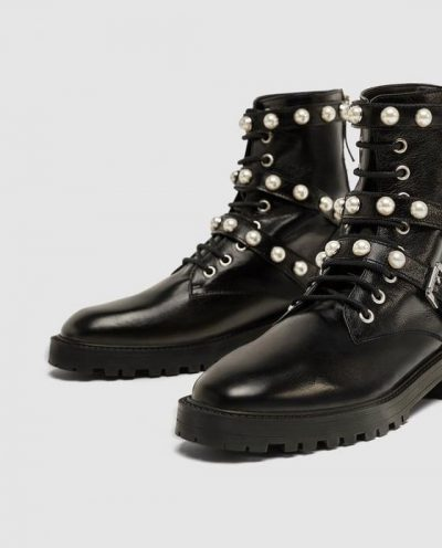 ZARA LEATHER ANKLE BOOTS WITH FAUX PEARLS