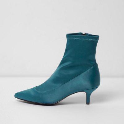 river island Dark green kitten heel sock boots