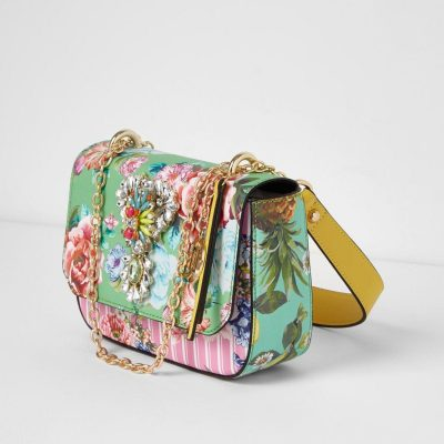 River Island Green floral jewel embellished chain bag