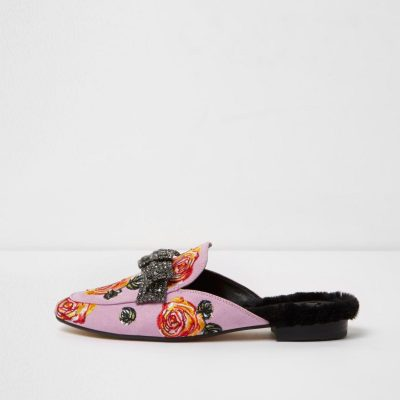 river island Pink floral embroidered bow backless loafers