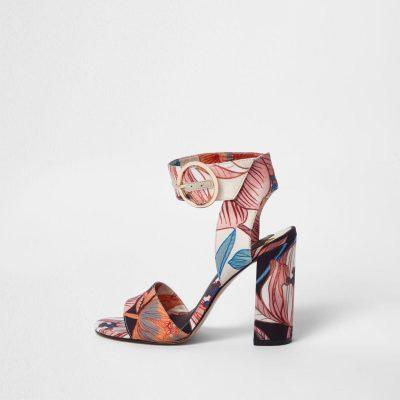 river island Pink floral print block heel sandals