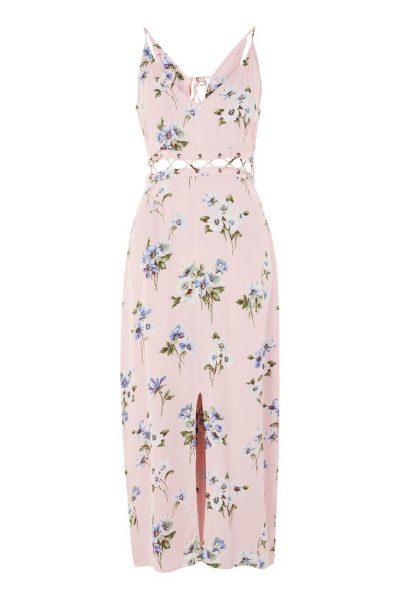 topshop Floral Lattice Midi Slip Dress