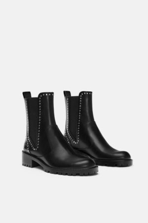 Zara Studded Flat ankle boots