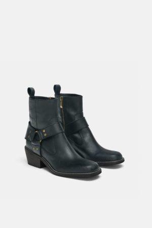 Zara Cowboy Black leather ankle boots