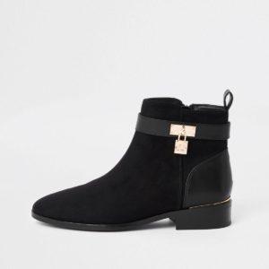 River Island Black padlock ankle boots