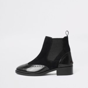 River Island Black brogue detail ankle boots