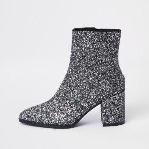 River Island Silver glitter block heel ankle boots